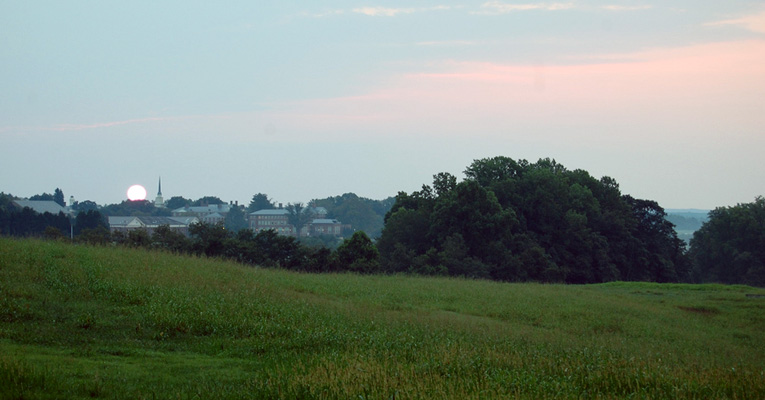 Rolling hills, woods and fields surround Sweet Briar's main campus.