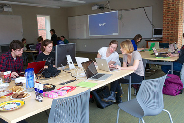 Students participate in a Wikipedia edit-a-thon at Sweet Briar College in 2014.