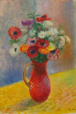 """William Glackens (1870-1938), """"Daisies and Anemones,"""" ca. 1930, oil on canvas, 24 1/2 x 20 in. First purchase made possible by The Friends of Art of Sweet Briar College, 1937."""