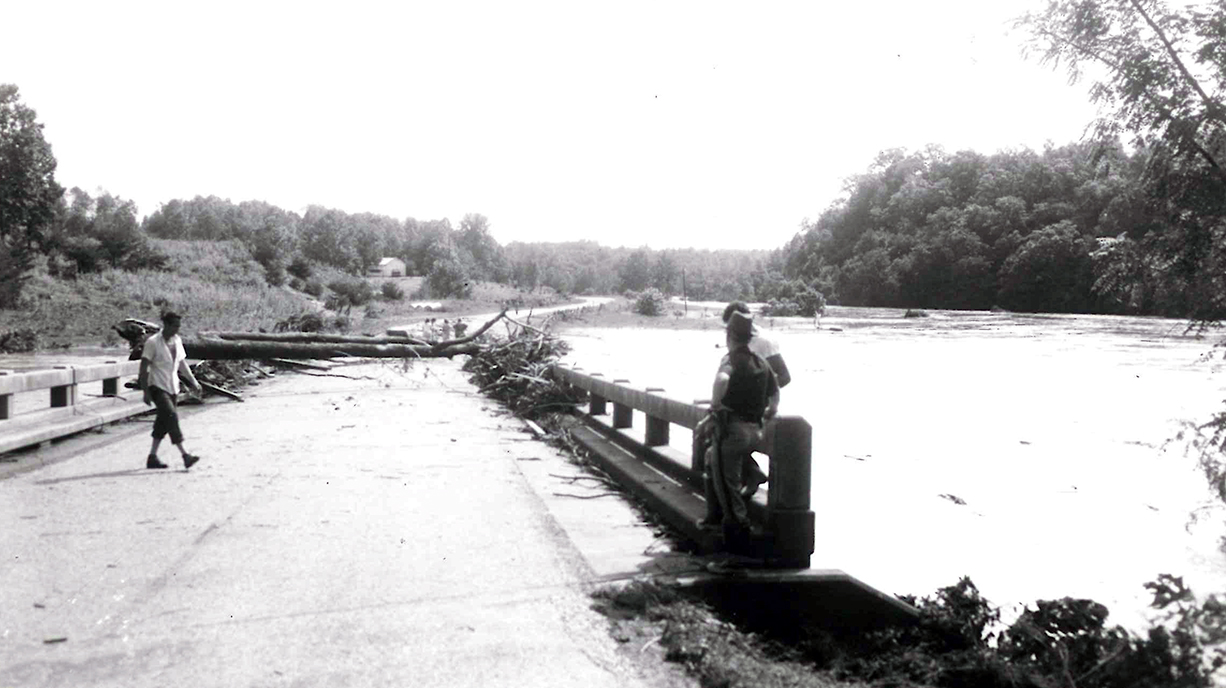 Buffalo River covered the bridge at Boxwood Farm Road with debris